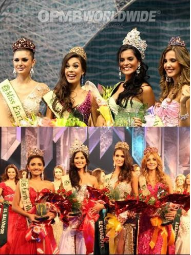 Miss Earth 2009 and 2011 courts:  notice the countries that compose them?