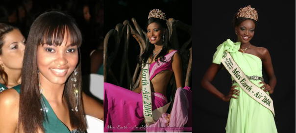...or extraordinarily beautiful:  Miss Earth - Air winners Murielle Celimene of Martinique (2004), Amell Santana of Dominican Republic (2005), and Miriam Odemba of Tanzania (2008)