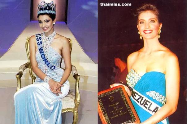 Incongruou connection:  Miss World 1999 Yukta Mookhey and Miss Universe 1992 finalist Carolina Iszak (images courtesy of Miss World Ltd and thaimiss.com)