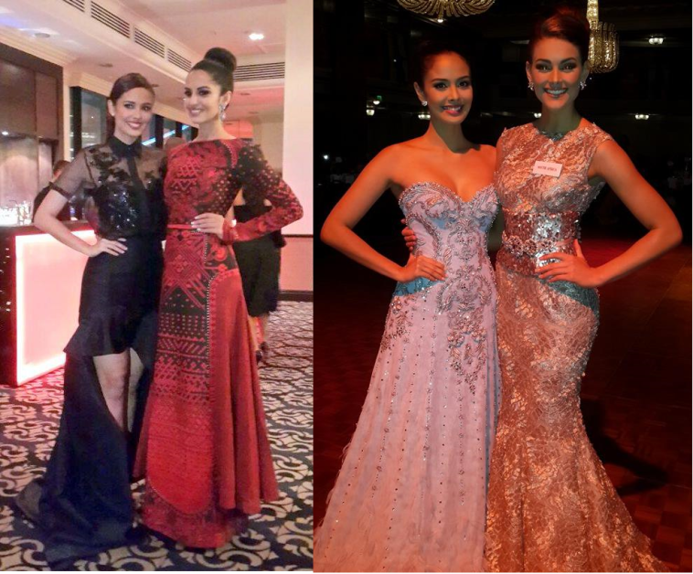 Will Megan crown one of these ladies?  Left photo: with India (Koyal Rana); Right photo: with South Africa (Rolene Strauss)
