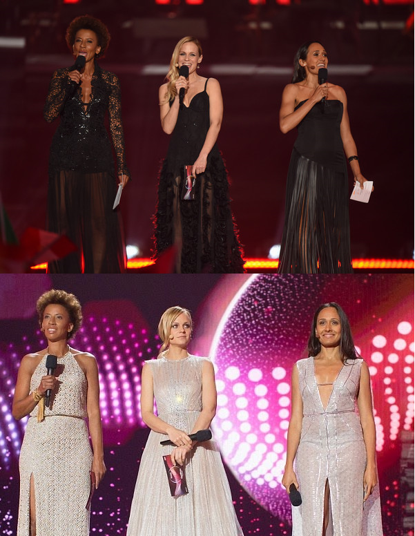 Taking turns: The hosts (Arabella Kiesbauer, Mirjam Weichselbraun and Alice Tumler) during the first half (top) and second half (bottom) of the finals.