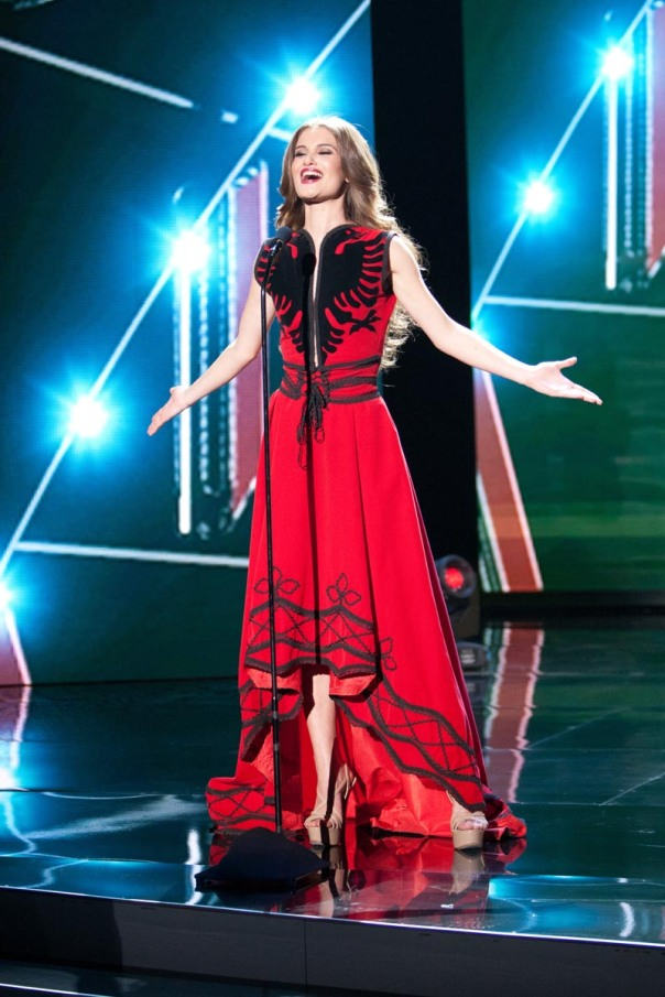 Megi Luka, Miss Albania 2015 debuts her National Costume on stage at Planet Hollywood Resort & Casino Wednesday, December 16, 2015. The 2015 Miss Universe contestants are touring, filming, rehearsing and preparing to compete for the DIC Crown in Las Vegas. Tune in to the FOX telecast at 7:00 PM ET live/PT tape-delayed on Sunday, Dec. 20, from Planet Hollywood Resort & Casino in Las Vegas to see who will become Miss Universe 2015. HO/The Miss Universe Organization