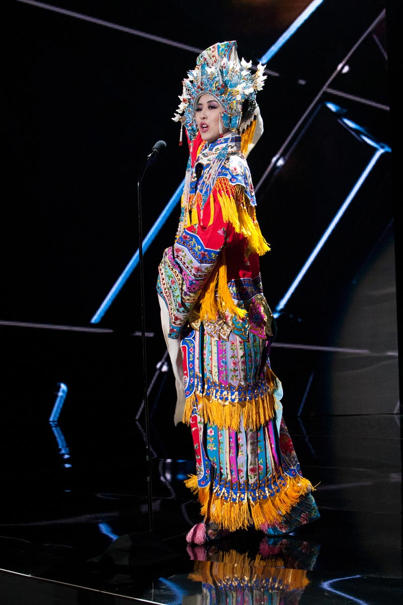 Yun Fang Xue, Miss China 2015 debuts her National Costume on stage at Planet Hollywood Resort & Casino Wednesday, December 16, 2015. The 2015 Miss Universe contestants are touring, filming, rehearsing and preparing to compete for the DIC Crown in Las Vegas. Tune in to the FOX telecast at 7:00 PM ET live/PT tape-delayed on Sunday, Dec. 20, from Planet Hollywood Resort & Casino in Las Vegas to see who will become Miss Universe 2015. HO/The Miss Universe Organization