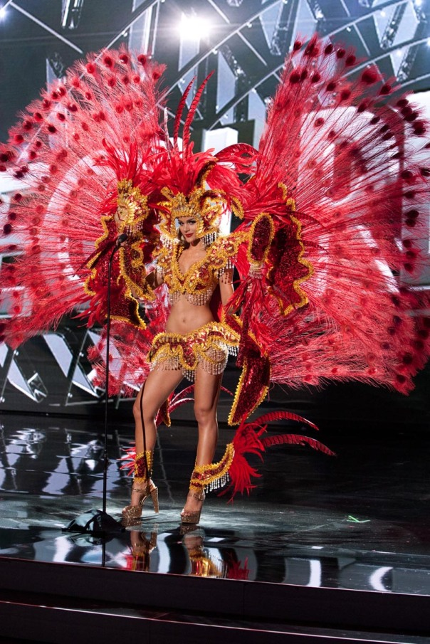 Clarissa Molina, Miss Dominican Republic 2015 debuts her National Costume on stage at Planet Hollywood Resort & Casino Wednesday, December 16, 2015. The 2015 Miss Universe contestants are touring, filming, rehearsing and preparing to compete for the DIC Crown in Las Vegas. Tune in to the FOX telecast at 7:00 PM ET live/PT tape-delayed on Sunday, Dec. 20, from Planet Hollywood Resort & Casino in Las Vegas to see who will become Miss Universe 2015. HO/The Miss Universe Organization