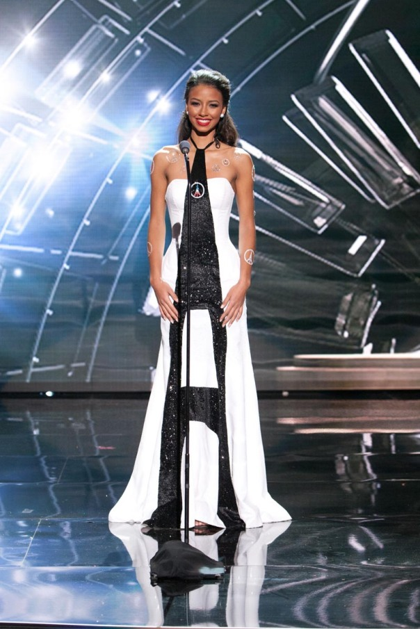 Flora Coquerel, Miss France 2015 debuts her National Costume on stage at Planet Hollywood Resort & Casino Wednesday, December 16, 2015. The 2015 Miss Universe contestants are touring, filming, rehearsing and preparing to compete for the DIC Crown in Las Vegas. Tune in to the FOX telecast at 7:00 PM ET live/PT tape-delayed on Sunday, Dec. 20, from Planet Hollywood Resort & Casino in Las Vegas to see who will become Miss Universe 2015. HO/The Miss Universe Organization