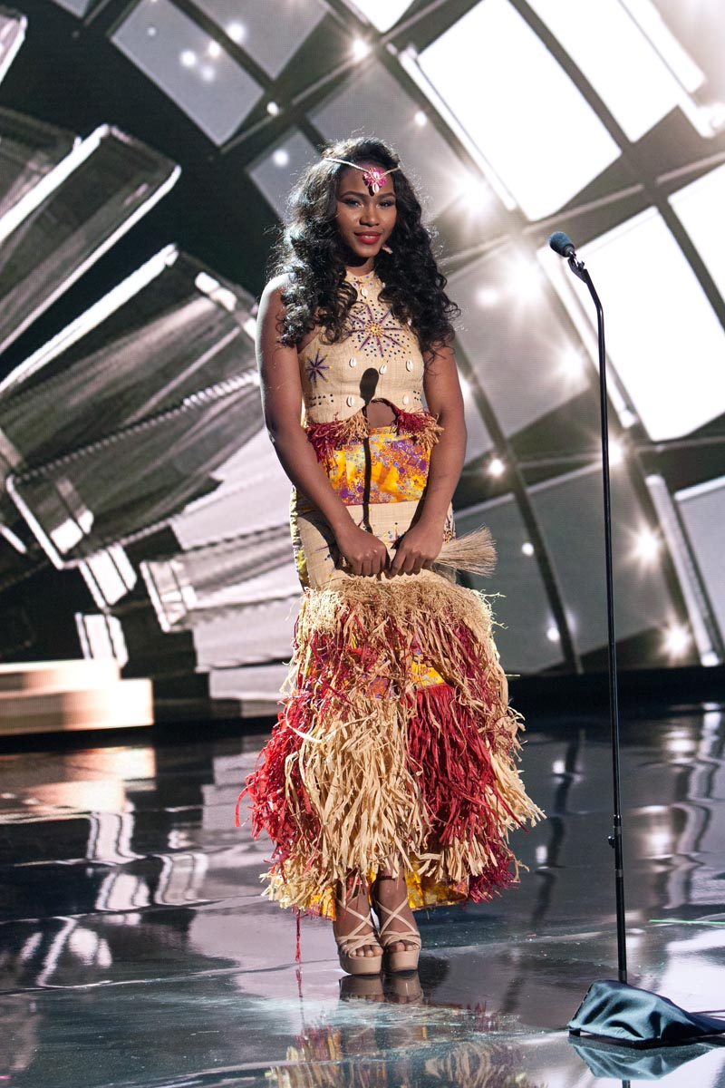 Ornella Obone, Miss Gabon 2015 debuts her National Costume on stage at Planet Hollywood Resort & Casino Wednesday, December 16, 2015. The 2015 Miss Universe contestants are touring, filming, rehearsing and preparing to compete for the DIC Crown in Las Vegas. Tune in to the FOX telecast at 7:00 PM ET live/PT tape-delayed on Sunday, Dec. 20, from Planet Hollywood Resort & Casino in Las Vegas to see who will become Miss Universe 2015. HO/The Miss Universe Organization