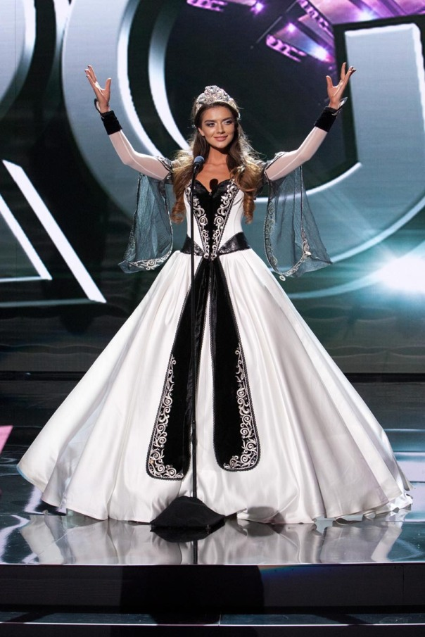 Janet Kerdikoshvili, Miss Georgia 2015 debuts her National Costume on stage at Planet Hollywood Resort & Casino Wednesday, December 16, 2015. The 2015 Miss Universe contestants are touring, filming, rehearsing and preparing to compete for the DIC Crown in Las Vegas. Tune in to the FOX telecast at 7:00 PM ET live/PT tape-delayed on Sunday, Dec. 20, from Planet Hollywood Resort & Casino in Las Vegas to see who will become Miss Universe 2015. HO/The Miss Universe Organization