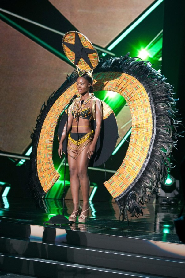 Hilda Akua Frimpong, Miss Ghana 2015 debuts her National Costume on stage at Planet Hollywood Resort & Casino Wednesday, December 16, 2015. The 2015 Miss Universe contestants are touring, filming, rehearsing and preparing to compete for the DIC Crown in Las Vegas. Tune in to the FOX telecast at 7:00 PM ET live/PT tape-delayed on Sunday, Dec. 20, from Planet Hollywood Resort & Casino in Las Vegas to see who will become Miss Universe 2015. HO/The Miss Universe Organization