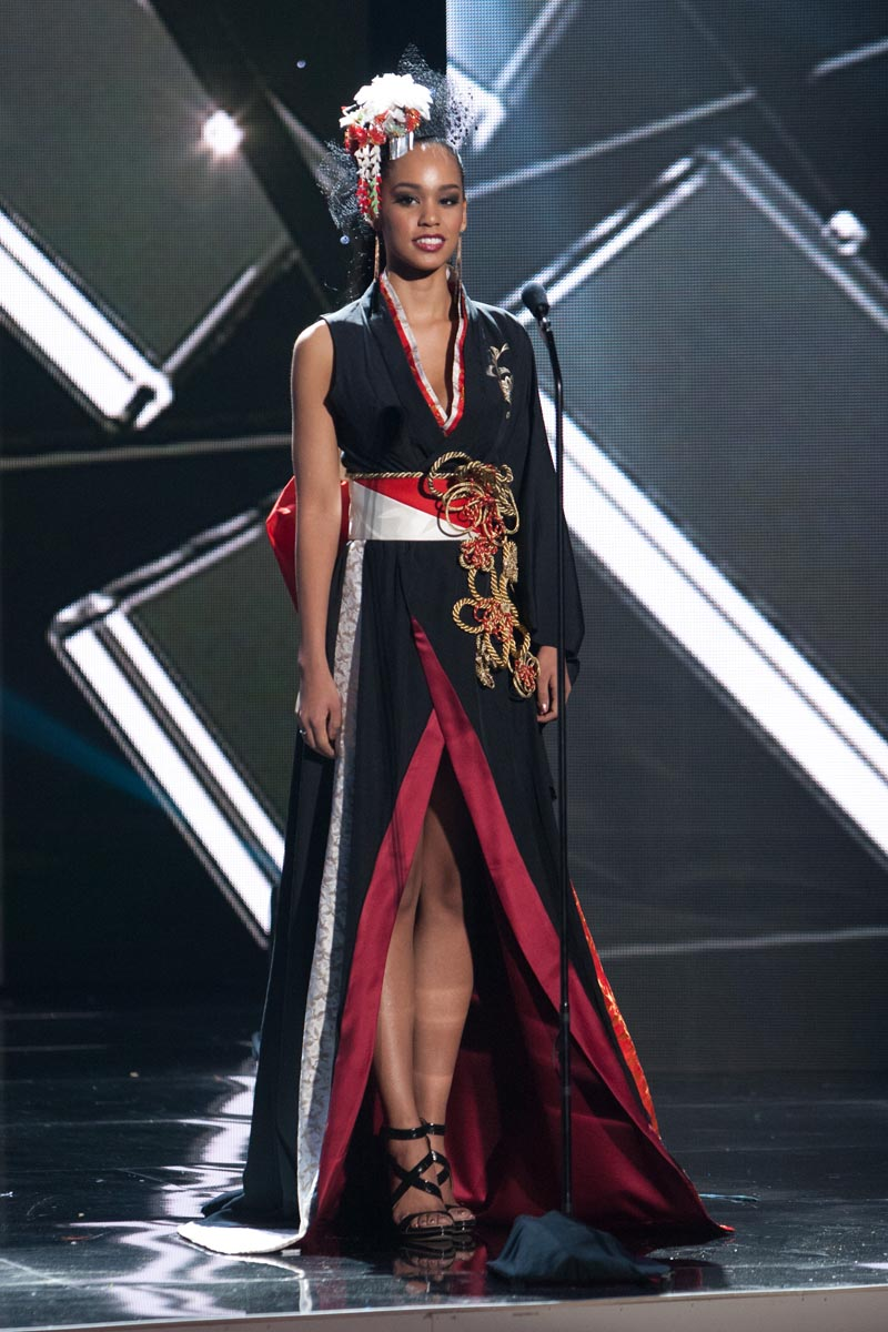 Ariana Miyamoto, Miss Japan 2015 debuts her National Costume on stage at Planet Hollywood Resort & Casino Wednesday, December 16, 2015. The 2015 Miss Universe contestants are touring, filming, rehearsing and preparing to compete for the DIC Crown in Las Vegas. Tune in to the FOX telecast at 7:00 PM ET live/PT tape-delayed on Sunday, Dec. 20, from Planet Hollywood Resort & Casino in Las Vegas to see who will become Miss Universe 2015. HO/The Miss Universe Organization