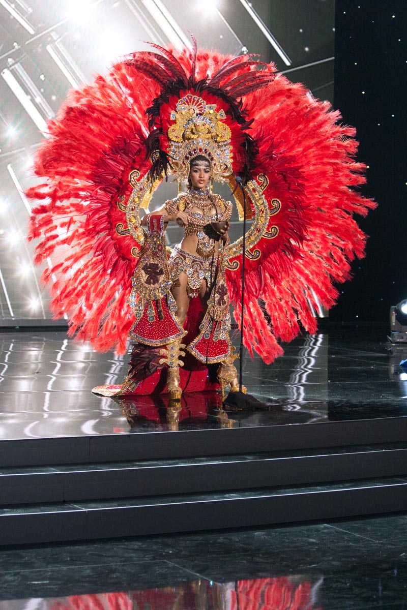 debuts her National Costume on stage at Planet Hollywood Resort & Casino Wednesday, December 16, 2015. The 2015 Miss Universe contestants are touring, filming, rehearsing and preparing to compete for the DIC Crown in Las Vegas. Tune in to the FOX telecast at 7:00 PM ET live/PT tape-delayed on Sunday, Dec. 20, from Planet Hollywood Resort & Casino in Las Vegas to see who will become Miss Universe 2015. HO/The Miss Universe Organization