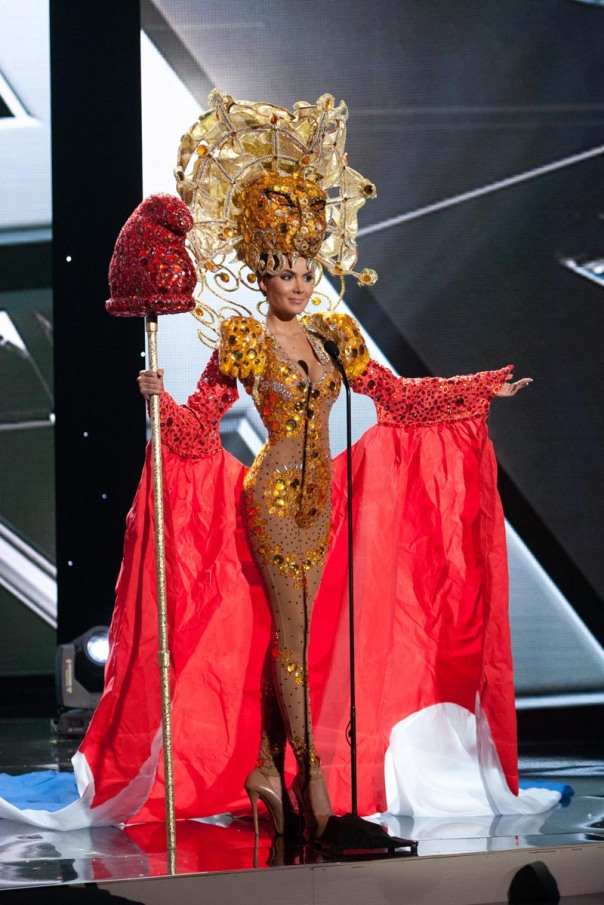 Myriam Arevalos, Miss Paraguay 2015 debuts her National Costume on stage at Planet Hollywood Resort & Casino Wednesday, December 16, 2015. The 2015 Miss Universe contestants are touring, filming, rehearsing and preparing to compete for the DIC Crown in Las Vegas. Tune in to the FOX telecast at 7:00 PM ET live/PT tape-delayed on Sunday, Dec. 20, from Planet Hollywood Resort & Casino in Las Vegas to see who will become Miss Universe 2015. HO/The Miss Universe Organization