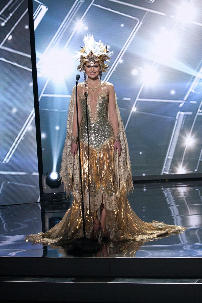 Vladislava Evtushenko, Miss Russia 2015 debuts her National Costume on stage at Planet Hollywood Resort & Casino Wednesday, December 16, 2015. The 2015 Miss Universe contestants are touring, filming, rehearsing and preparing to compete for the DIC Crown in Las Vegas. Tune in to the FOX telecast at 7:00 PM ET live/PT tape-delayed on Sunday, Dec. 20, from Planet Hollywood Resort & Casino in Las Vegas to see who will become Miss Universe 2015. HO/The Miss Universe Organization