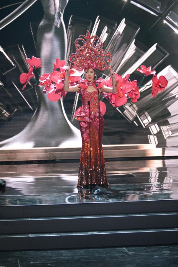 Lisa Marie White, Miss Singapore 2015 debuts her National Costume on stage at Planet Hollywood Resort & Casino Wednesday, December 16, 2015. The 2015 Miss Universe contestants are touring, filming, rehearsing and preparing to compete for the DIC Crown in Las Vegas. Tune in to the FOX telecast at 7:00 PM ET live/PT tape-delayed on Sunday, Dec. 20, from Planet Hollywood Resort & Casino in Las Vegas to see who will become Miss Universe 2015. HO/The Miss Universe Organization