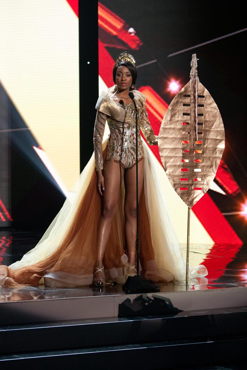 Refilwe Mthimunye, Miss South Africa 2015 debuts her National Costume on stage at Planet Hollywood Resort & Casino Wednesday, December 16, 2015. The 2015 Miss Universe contestants are touring, filming, rehearsing and preparing to compete for the DIC Crown in Las Vegas. Tune in to the FOX telecast at 7:00 PM ET live/PT tape-delayed on Sunday, Dec. 20, from Planet Hollywood Resort & Casino in Las Vegas to see who will become Miss Universe 2015. HO/The Miss Universe Organization