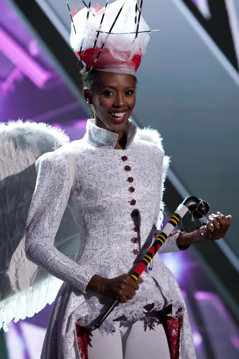 Lorraine Marriot, Miss Tanzania 2015 debuts her National Costume on stage at Planet Hollywood Resort & Casino Wednesday, December 16, 2015. The 2015 Miss Universe contestants are touring, filming, rehearsing and preparing to compete for the DIC Crown in Las Vegas. Tune in to the FOX telecast at 7:00 PM ET live/PT tape-delayed on Sunday, Dec. 20, from Planet Hollywood Resort & Casino in Las Vegas to see who will become Miss Universe 2015. HO/The Miss Universe Organization